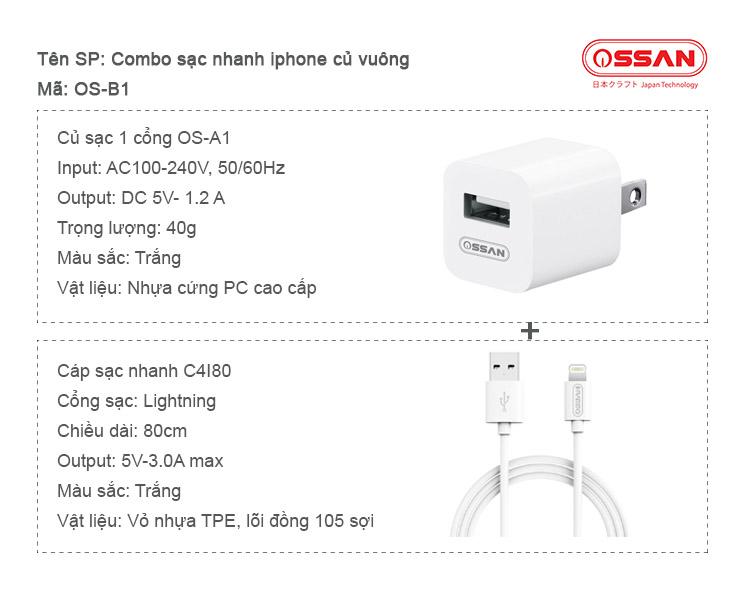 Thông số kỹ thuật combo sạc nhanh OS-B1